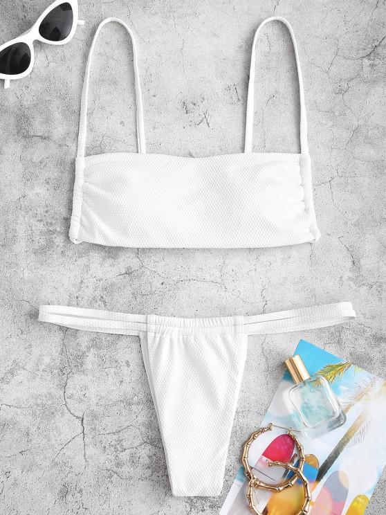 latest ZAFUL Textured String Tanga Bikini Swimwear - WHITE S