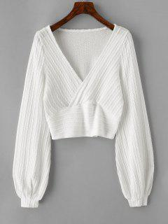 Cable Knit Surplice Cropped Knitwear - White M