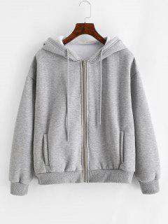Heathered Zip Up Fleece Hoodie - Gray Xs