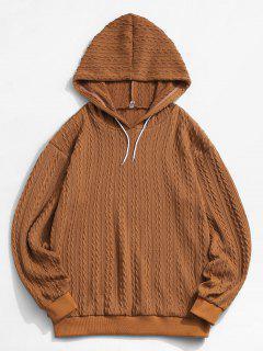 ZAFUL Drawstring Jacquard Hoodie Sweater - Coffee L