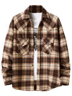 Plaid Pattern Double Pockets Flannel Shirt - Camel Brown L