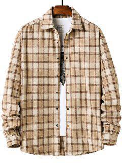 Long Sleeve Plaid Pattern Flannel Shirt - Light Khaki Xl