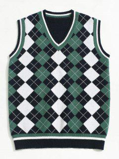 ZAFUL V Neck Contrast Argyle Sweater Vest - Deep Blue Xs
