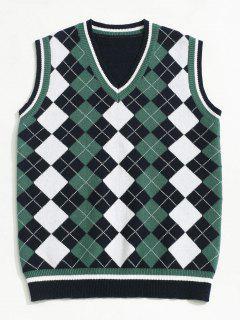 ZAFUL V Neck Contrast Argyle Sweater Vest - Deep Blue M