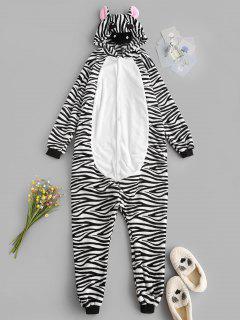 Fluffy Button Front Fleece Zebra Onesie Pajamas - Black M
