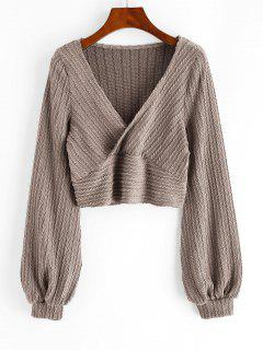 Cable Knit Surplice Cropped Knitwear - Camel Brown S