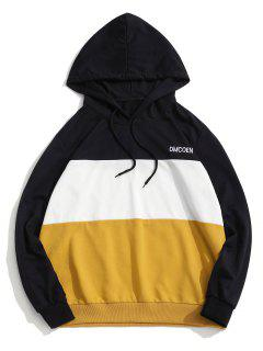 ZAFUL Letter Embroidered Contrast Hoodie - Yellow M