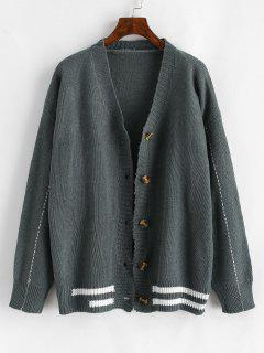 Button Up Contrast Striped Cardigan - Gray