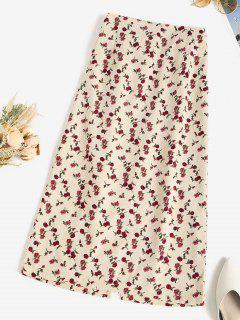 Floral Corduroy Pencil Skirt - Apricot