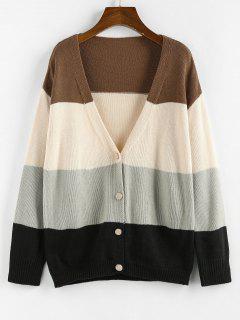 ZAFUL Color Blocking Drop Shoulder Plunge Cardigan - Multi L