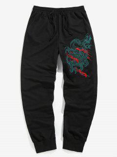 ZAFUL Dragon Embroidered Sports Pants - Black 2xl