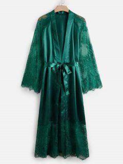 Plus Size Lace And Satin Long Sleeve Robe - Deep Green 4xl
