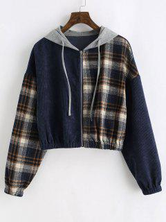 ZAFUL Zip Up Plaid Corduroy Combo Jacket - Deep Blue S