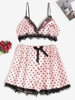Tupfen Satin Pyjama Set Mit Spitzenbesatz - Hell-pink M