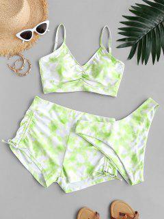 ZAFUL Cinched High Cut Tie Dye Three Piece Bikini Swimwear - Green L
