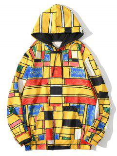 Front Pocket Geometric Pattern Hoodie - Bright Yellow 3xl