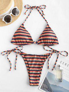 ZAFUL Ribbed Striped Halter Tie Side String Bikini Swimwear - Multi M