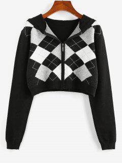 ZAFUL Plaid Hooded Zip Up Crop Cardigan - Black M