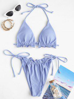 ZAFUL Textured Lettuce Tie Side Tanga Bikini Swimwear - Light Blue M