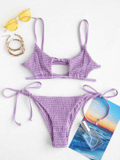 ZAFUL Keyhole Smocked String Bikini - Purple S
