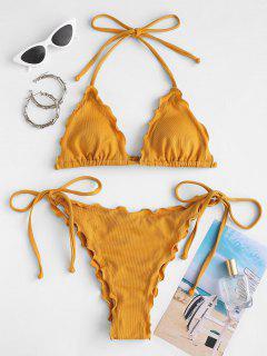 ZAFUL Lettuce Textured Tie Side Bikini Swimwear - Deep Yellow S
