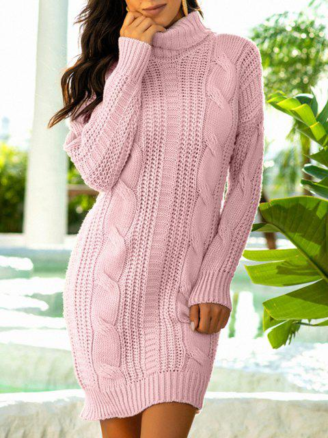 outfit Turtleneck Cable Knit Chunky Sweater Dress - LIGHT PINK ONE SIZE Mobile