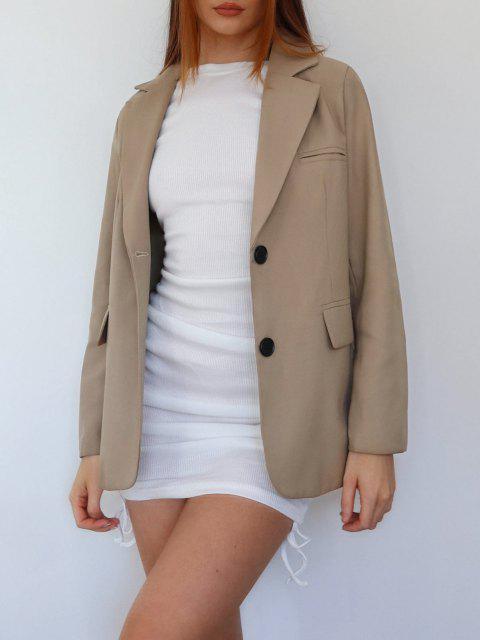 affordable Button Up Shoulder Pads Pockets Blazer - KHAKI L Mobile
