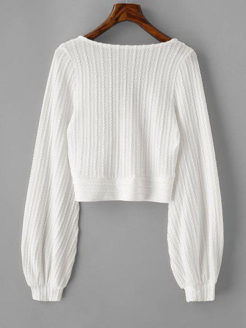 latest Cable Knit Surplice Cropped Knitwear - WHITE S Mobile