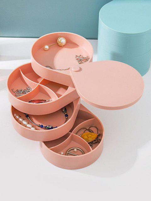 trendy 4 Layers Rotating Cylinder Earrings Jewelry Storage Box - LIGHT PINK  Mobile