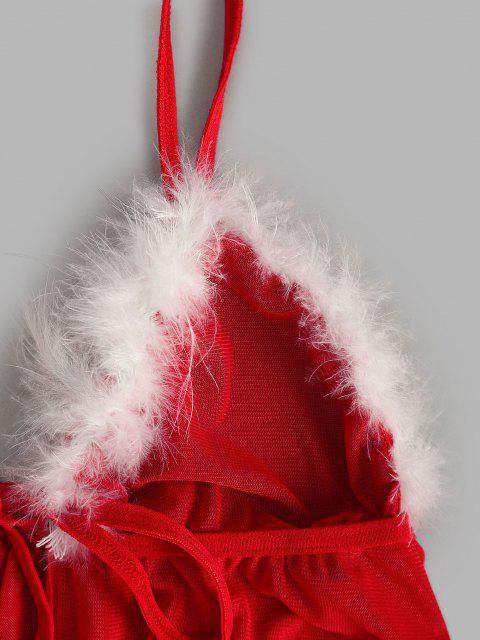 fancy Feather Trim Tie Front Flyaway Mesh Babydoll Set - RED L Mobile