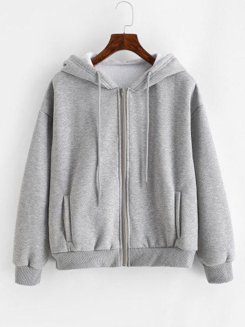 womens Heathered Zip Up Fleece Hoodie - GRAY XS Mobile