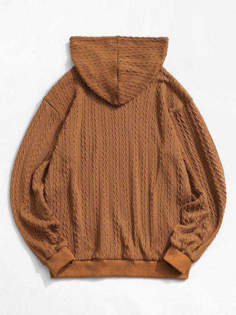new ZAFUL Drawstring Jacquard Hoodie Sweater - COFFEE XS Mobile