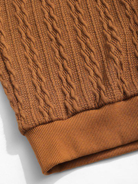 shop ZAFUL Drawstring Jacquard Hoodie Sweater - COFFEE L Mobile