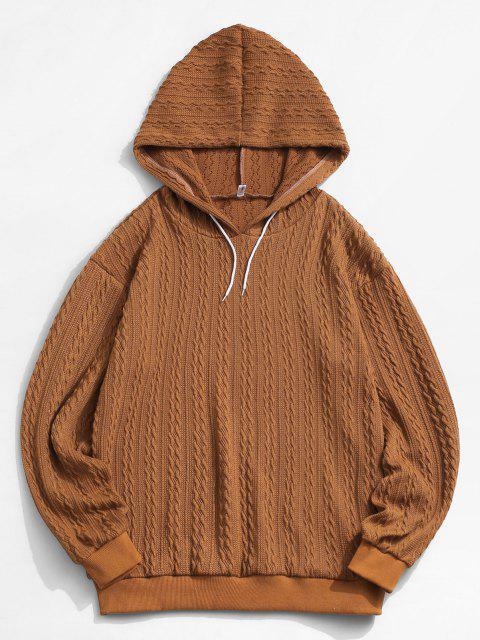 fashion ZAFUL Drawstring Jacquard Hoodie Sweater - COFFEE M Mobile