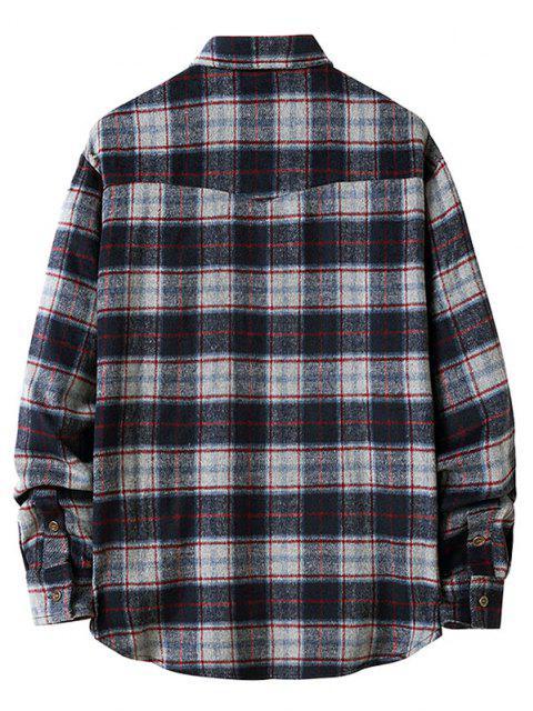 shop Plaid Pattern Double Pockets Flannel Shirt - DARK SLATE BLUE S Mobile