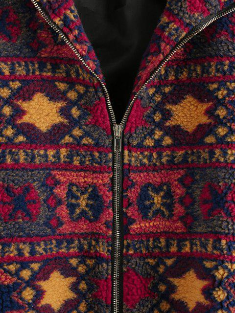 outfit ZAFUL Tribal Geo Drop Shoulder Zipper Teddy Coat - MULTI M Mobile