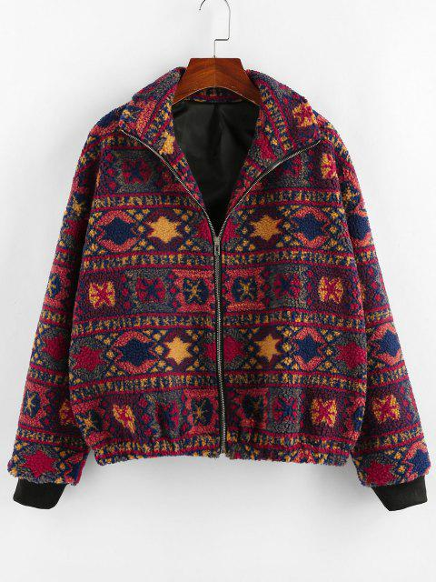 women ZAFUL Tribal Geo Drop Shoulder Zipper Teddy Coat - MULTI S Mobile