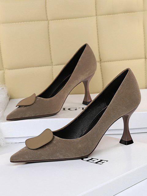 womens Retro Kitten Heel Slip On Shoes - KHAKI EU 38 Mobile