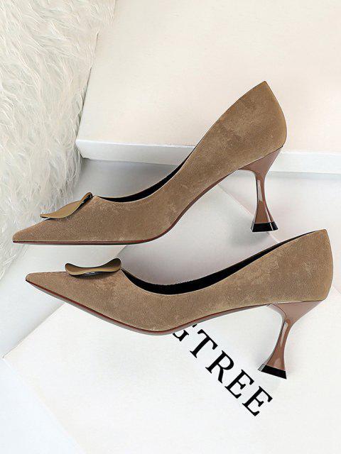 women's Retro Kitten Heel Slip On Shoes - KHAKI EU 40 Mobile