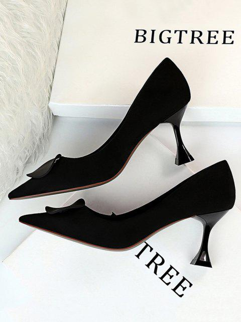 lady Retro Kitten Heel Slip On Shoes - BLACK EU 38 Mobile