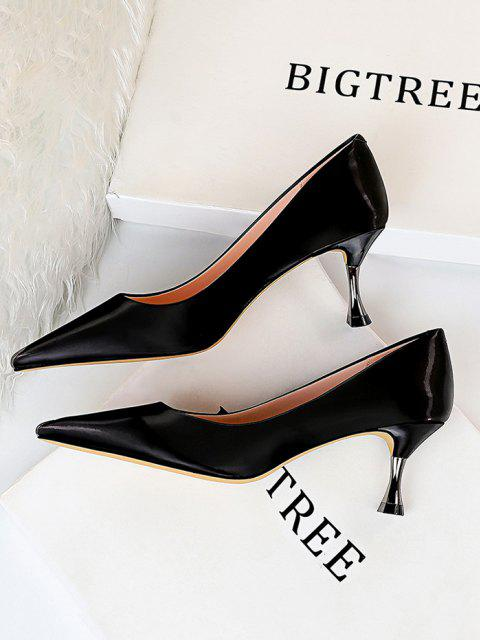 new Metal Pointed Toe High-heeled Shoes - BLACK EU 37 Mobile