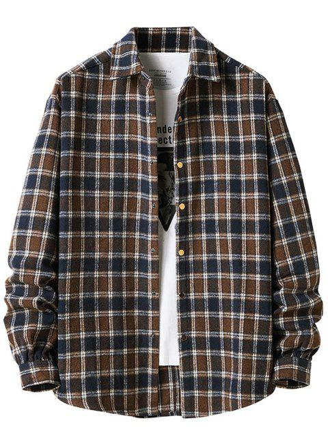 chic Long Sleeve Plaid Pattern Flannel Shirt - DEEP COFFEE M Mobile