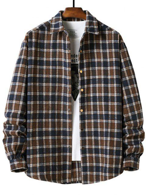 長袖プラッド柄フランネルシャツ - ディープコーヒー XL Mobile