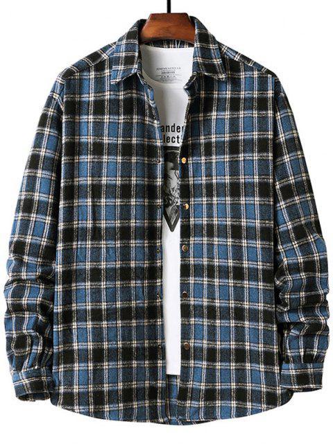Camisa Ajustada Manga Larga Estampado Cuadros - Azul S Mobile