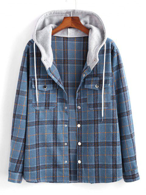 fancy Plaid Pattern Colorblock Hooded Shirt Jacket - BLUE 2XL Mobile
