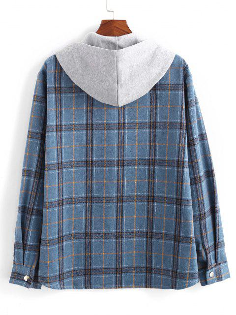 Plaid Pattern Colorblock Hooded Shirt Jacket - أزرق L Mobile