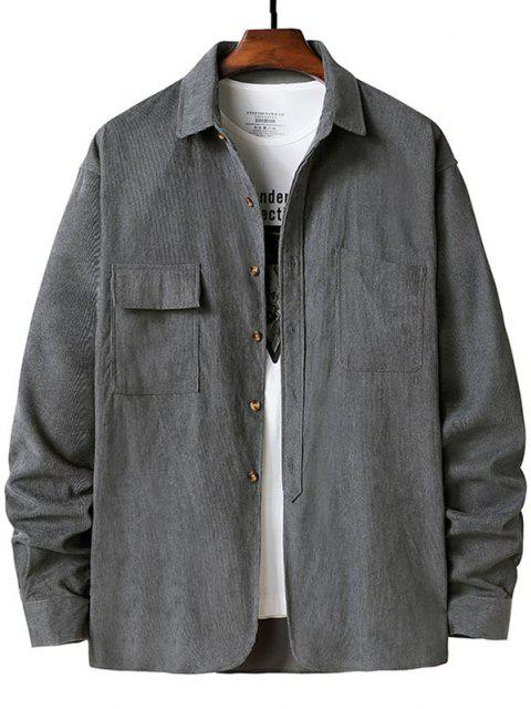 ladies Double Pockets Button Up Ribbed Corduroy Shirt - GRAY XL Mobile