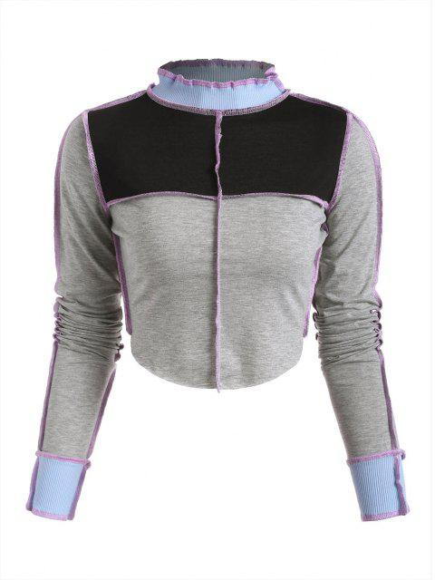Camiseta de Bloqueo de Color Acanalado con Panel Acanalado - Gris L Mobile