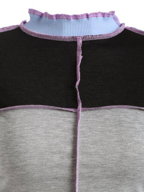 Geripptes Panel Seitenteil Farbblock T-Shirt - Grau M Mobile