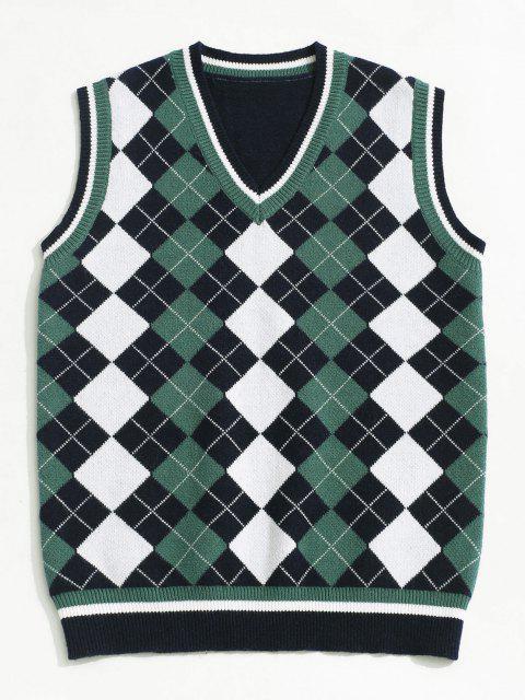 shop ZAFUL V Neck Contrast Argyle Sweater Vest - DEEP BLUE XL Mobile